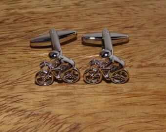 Cycling Silver Cufflinks, Cyclist Cufflinks,  Silver Bike Cufflinks, Bicycle Cufflinks, Mens Silver cufflinks, Mens cycling cufflinks
