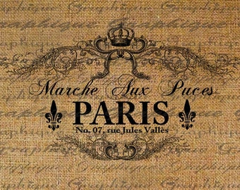 Paris Flea Market French Text Typograhphy Words Crown Ornate Digital Image Download Transfer For Pillows Totes Tea Towels Burlap No. 1815