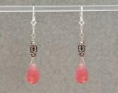 Pink Jade earrings / Pink Stone earrings / Pink Crystal earrings / Pink and Silver earrings REALIZE YOUR DREAMS