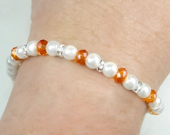 Multiple Sclerosis Bracelet, Orange Swarovski Crystal and White Pearl MS Bracelet - Melanie BMS0095