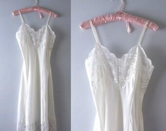 Vintage White Slip Dress | 1970s B. Dalton & Co White Satin Slip Dress L | White Bridal Slip Dress