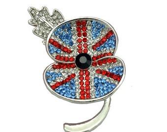 Remembrance Day 2016 Union Jack Crystal Poppy Flower Brooch