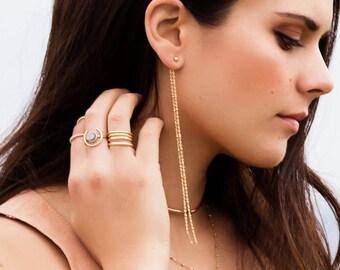 Shoulder Duster Ear Jacket, Minimalist Long Chain Earring with Ball Posts, Gold Filled or Sterling Silver Dangle Earrings, Gold Drop Earring