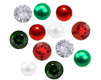 Red, White, and Green Christmas Pearls and Crystals Floating Charm