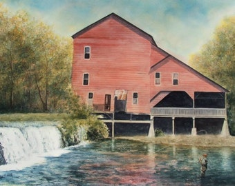 "Rockbridge Mill,Watercolor Painting,17"" x 23"",Unframed Watercolor,National Award Winner Watercolor Painting,Hand Painted,Inventory Sale"