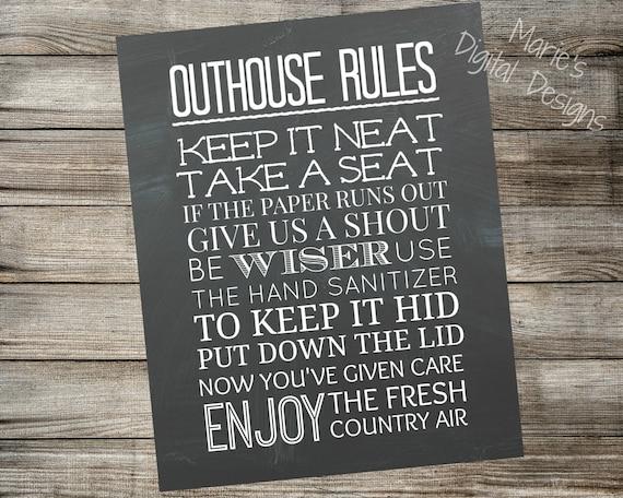 Outhouse Rules Printable Chalkboard Sign / Bathroom Home Decor