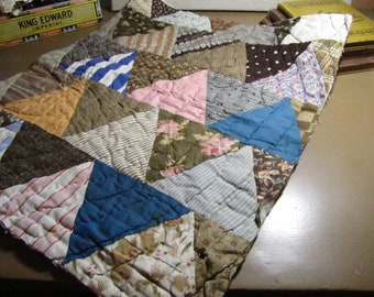 """Old Patchwork Quilt Section - 20"""" by 17"""" Rectangle - Browns, Tans and Blues - Triangular Shaped Pieces"""