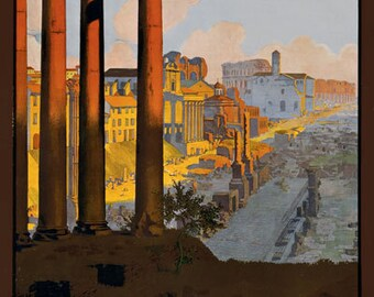 T10 Vintage 1920's Italy Rome French Railway Travel Poster Re-Print Wall Decor A1/A2/A3/A4
