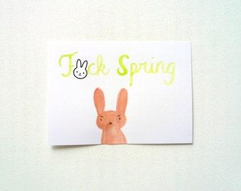 F-ck Spring Card, Rude Postcard, Watercolor Original Illustration, Hayfever Greeting Card, Funny Seasonal Allergy Card, Mature Grumpy Card