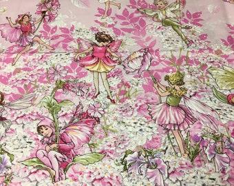 Pink Petal Fairies Double border print fabric Michael Miller 2 yards