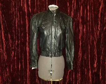 Vintage 1980's Marco Morani Black Leather Cafe Racer Jacket, 4 Small