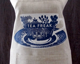 tea freak linen apron with pocket