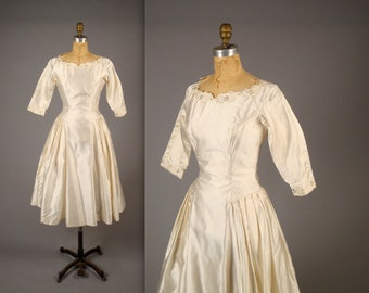1950s beaded white wedding dress • vintage 50s satin dress • tea length bridal dress