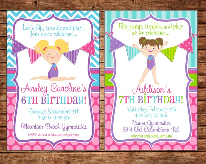 Girl Invitation Gymnastics Tumbling Dance Dancing Birthday Party - Can personalize colors /wording - Printable File or Printed Cards