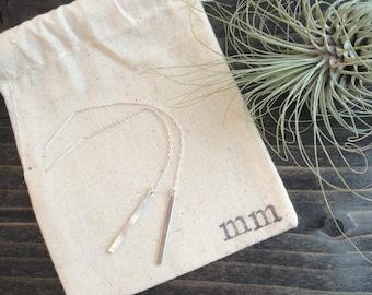 Silver Bar Threaders || Thin Chain Earring || Ear Thread Earrings || Sterling Silver || Long Chain Earrings