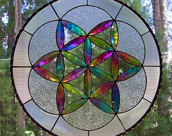 """Dichroic Stained Glass Panel disc """"Fruit of Life"""" sacred geometry"""
