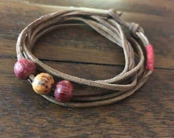 Leather Wrap Beaded Bracelet.