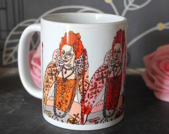 Queen Elizabeth 1st Mug, Tudor, History, England, Henry VIII, Anne Boleyn, Great Britain