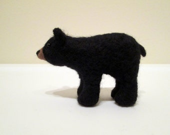 Needle Felted Bear - Animal Miniature - Black Bear
