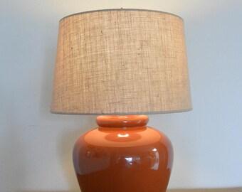 Vintage Burnt Sienna Glazed Porcelain Table Lamp