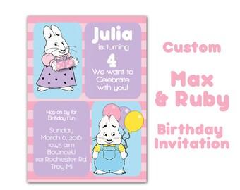 Max and Ruby Birthday Invitation, Custom  Rabbit Party, 5x7 Invitation for girl party, Bunny Party