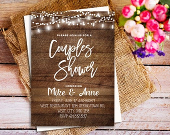 Rustic wood couples shower invitation, BBQ Couples Shower party invitation, Wood Couples Shower invitation, Country party invitation, co ed