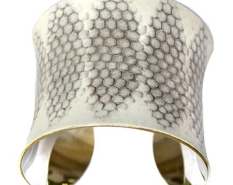 Snakeskin Silver Lined Cuff Bracelet ( White Honeycomb Diamond Cut ) - by UNEARTHED