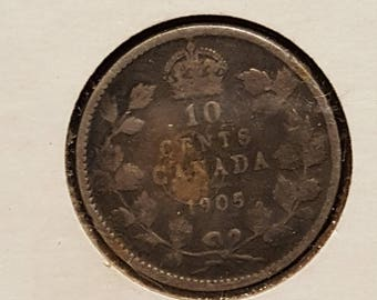 1905 Canada 10 Cent Silver Coin Dime
