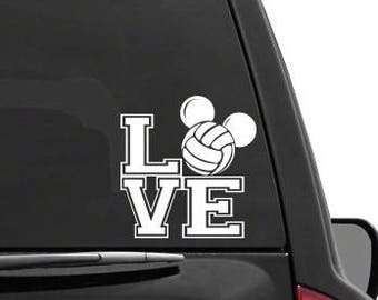 Auto Sticker - Auto Decal Mickey Mouse Ears Love Volleyball Vinyl Decal Sticker DISNEY for Car Truck SUV Boat Trailer Laptop iPad