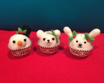 Set of 3 needle felted ornaments/ cupcake ornaments/ bear, bunny, snowman