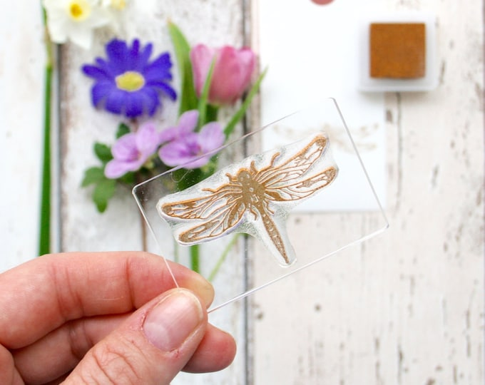 Botanical Dragonfly - Dragonfly Stamp - See-through Stamp - Gift Tags - Insect - Fishing - Flexi Clear Stamp Set by The Little Stamp Store