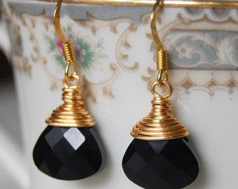 Black Earrings , Bridesmaid Earrings , Gold Earrings , Wire Wrapped Dangle Earrings ,  Teardrop Briolettes
