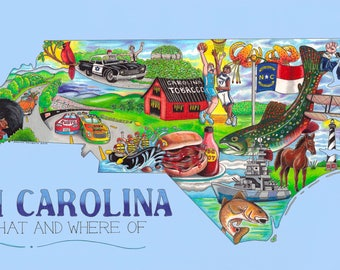 The Who, What and Where of North Carolina postcards pack of 10 signed by artist