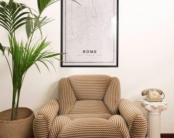 Handmade 80s Velvet Armchair