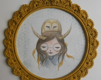 Owl Spirit - Original watercolor drawing