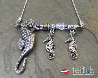 Seahorse and Her Ponies Necklace