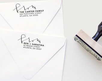 Custom Hand Lettered Return Address Stamp // From Our Family