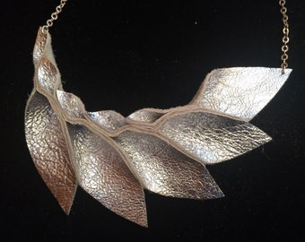 Petal Collection: Silver Lame Metallic Leather Petal Necklace