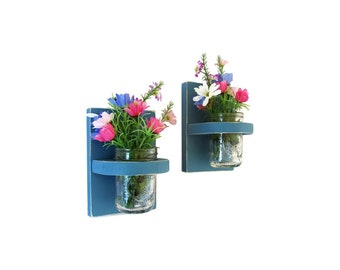 Solid Wood Hand Painted Wall Sconces with Mason Jar Vases, Set of Two