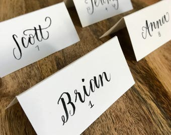 Hand lettered Personalized Placecards, Custom Place cards, Escort Cards, Name Cards, Calligraphy, Handlettered, Wedding, Reception, Shower