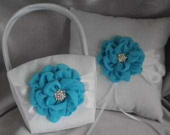 Cream or White Flower Girl Baskets and  Pillow Ring Bearer Pillow with Turquoise Chiffon Flower and Rhinestone Accent-LAST ONE