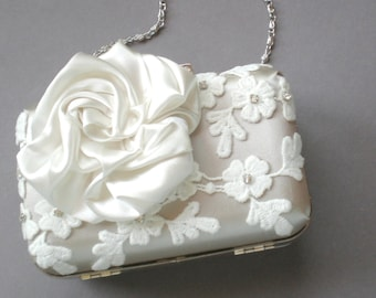Bridal Clutch Bag ..Satin Gardenia.. Rhinestone Venice Lace .. Ivory Taupe Lace..  Dressing Case. Bride Maids Bag. Mother of the Bride