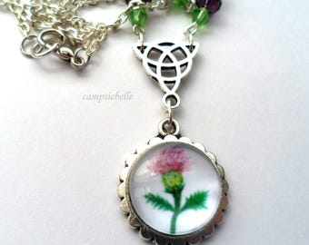 """Thistle Necklace-from a Hand painting by Campsiebella-Pendant-Triquetra Knot-Purple & Green Crystal Bead- Trace chain 20""""- Handmade in UK"""