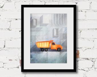 dump truck art print, grey yellow boy art, boys truck wall art, construction decor, construction vehicle, boys truck wall art, boys room art