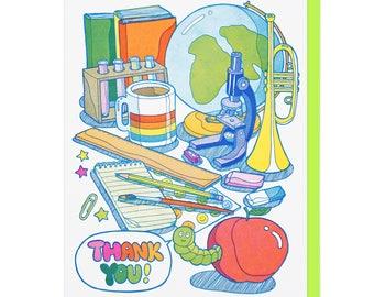 Thank You School Supplies Letterpress Card