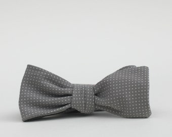 grey polka dot freestyle bow tie // self tie bow tie in grey and white // rad bow tie for men