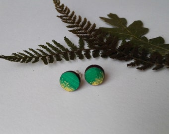 Wood Hand Painted Circle Stud Earrings in Green and Gold (8mm diameter)