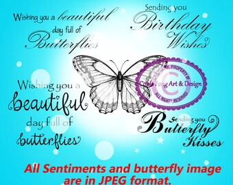 Digital Stamp, Digi Stamp, digistamp,  Butterfly and Birthday Sentiments by Conie Fong, Sentiment