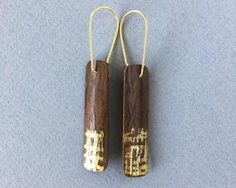 Walnut wood and 24K gold earrings, medium bar earrings, minimalist geometric earrings, reclaimed wood