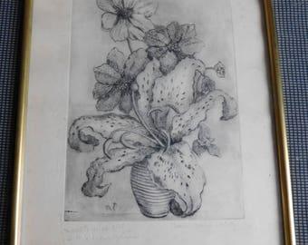 Signed artist proof Marie Teyssier numbered 8/45 bouquet framed